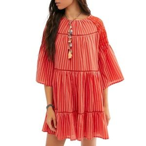 Free People Tiered Dress Embroidered Cutout Dress
